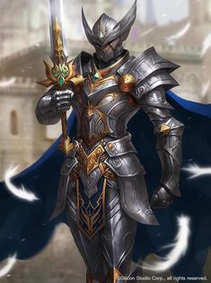 The knight Paladino Rpg, Swords, Dark Fantasy, Fantasy Armor, Fantasy Weapons, Fantasy Male, Medieval Fantasy, Knights, Armors