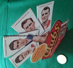 Dixie Dean and other Carreras Famous Footballers point of sale product promotion display from 1934. UNIQUE surviving artifact! Soccer Cards, Football Cards, World Football, Football Soccer, Promotion Display, Rarity, Ephemera, Old Things, Unique