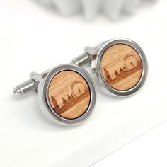 Orange Lined Design Round Silver Cufflinks With Gift Pouch Formal Smart Present