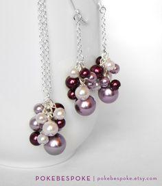 Articoli simili a Bridesmaid Jewelry Set - Purple, Lilac, Aubergine, Lavender Pearl - Pearl Jewelry Set su Etsy