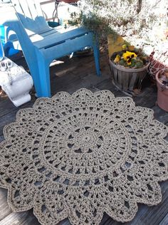 "Jute Light Brown Patio Porch Cord Crochet Rug in 35"" Round Pineapple Pattern on Etsy, $80.00"