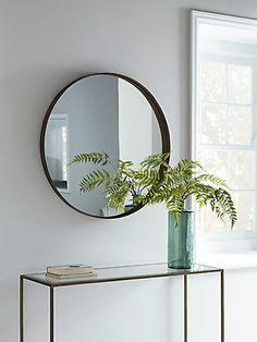 NEW Round Burnished Frame Mirror - Round Mirrors - Mirrors Vintage Mirrors, Hallway Console, Hallway Furniture, Console Tables, Large Round Mirror, Round Mirrors, Oval Mirror, Grey Hallway, Consoles