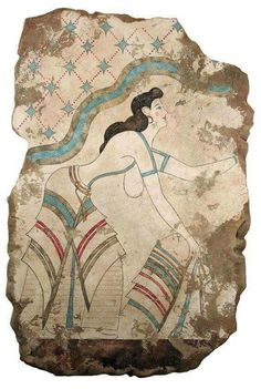 please note that this is a recreation of an original minoan fresco from akrotiri thera santorini the original comes from a badly damaged three storey