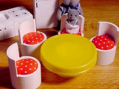 Dollhouse furniture ideas.  PVC pipe chairs with little cushions.