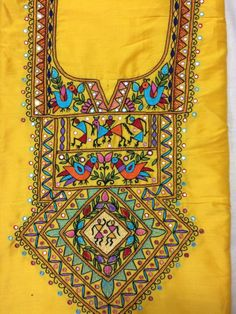 Screen printing designs indian 63 New Ideas Cushion Embroidery, Kurti Embroidery Design, Embroidery Neck Designs, Embroidery Works, Hand Embroidery Stitches, Diy Embroidery, Embroidery Patterns, Kurti Patterns, Indian Embroidery