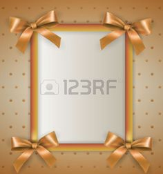 noeuds ruban: White vertical text frame with gold ribbons and bows at corners at cream background with dots and stars. template for birthday greetings christmas new year card. illustration