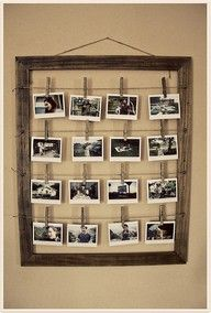 Old wooden Photo frame collage with clothes pins