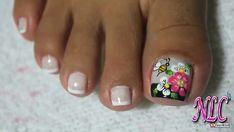 Cute Toe Nails, Cute Toes, Toe Nail Art, Flower Pedicure, White Toenails, Summer Toe Nails, Pretty Hands, Nail Tips, Flower Designs