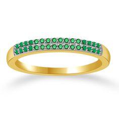 0.10ct Round Green Emerald 14k Solid Gold Anniversary Band + Black Diamond #Findingsnjewelry #AnniversaryBand