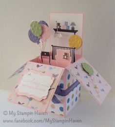 Little Additions, A Word For You, Nursery Nest, Decorative Label Punch, Decorative Dots Embossing Folder girl baby card in a box
