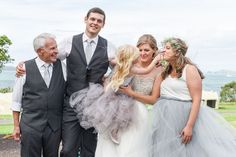 Grey Chiffon / tulle dresses for the bridemaid and flower girl photographed by Anais Photography