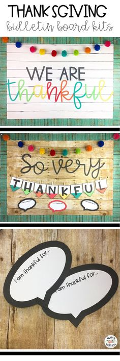 Colorful Thanksgiving Bulletin Board Kits! I am thankful for writing prompt included.