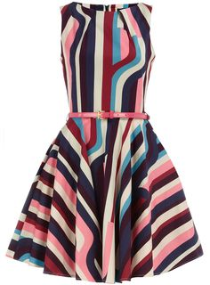 Love the retro vibe of this multi-flared, striped party dress. So fun!