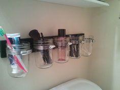 just made this diy mason jar shelf in my bathroom, so happy with it