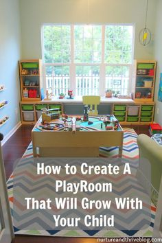 DIY home decor projects : Tips from a child psychologist on creating a playroom that will grow with your child. She also discusses essential play areas all playrooms should have. All on a budget– everything is from Ikea and Target! -Read More – Playroom Design, Playroom Decor, Playroom Layout, Playroom Colors, Playroom Seating, Playroom Shelves, Playroom Table, Modern Playroom, Toddler Playroom