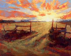 David Mensing - love this sunrise! Landscape Artwork, Abstract Landscape, Abstract Art, Sky Painting, Matte Painting, Painting Inspiration, Art Inspo, Paintings I Love, Barn Paintings