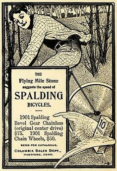 1901 Ad Flying Mile Stone Spalding Bicycle Bevel Gear Columbia Sales Hartford | eBay
