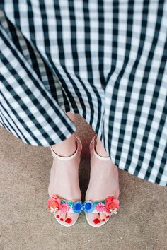Kate Spade Floral Sandals and Gingham Skirt