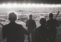 """the-cosmic-empire: """" The Beatles arrive at Suffolk Downs Racetrack, Boston, Massachusetts, on the 18th August 1966. Pics: Harry Benson. """""""
