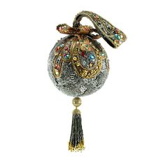 Mary Frances Handbag Adornment Silver Gold Metallic Round Framed Beaded Tassel #MARYFRANCES #EveningBag