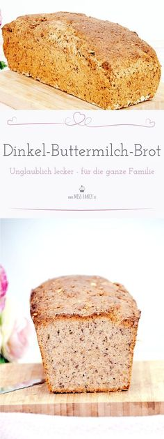 Dieses Dinkel-Buttermilch-Brot ist super einfach zu backen und kann nach belieben abgewandelt werden. Bread Baking, Pan Bread, Bread Bun, Veggie Recipes, Bread Recipes, Healthy Recipes, German Bread, Kitchenaid, How To Make Bread