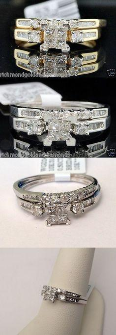 Diamonds and Gemstones 92909: 0.43Ct Yellow Gold Quad Princess Cut Diamond Engagement Bridal Set Wedding Ring -> BUY IT NOW ONLY: $299.99 on eBay!