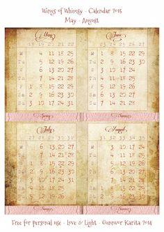 Wings of Whimsy: Calendar 2015 May - August #vintage #victorian #ephemera #freebie #printable #calendar