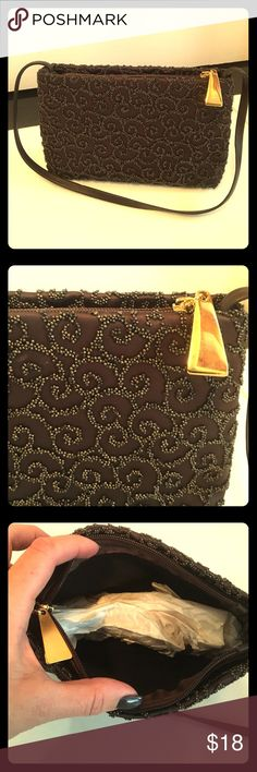 NWOT Vintage Style Beaded Handbag Small brown beaded vintage style evening bag with gold hardware. Stretchy fabric lets it open wider than it appears. Never used, brand new! Smoke/pet free Bags
