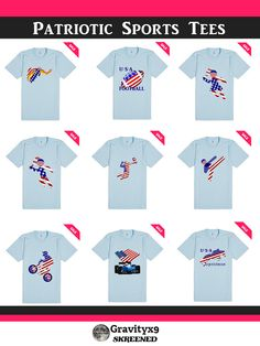 USA Themed Patriotic Sports Tee Shirts at #Skreened by #Gravityx9 #RedWhiteAndBlue1 ! More #Sports4you !  #USATeam #USAsports