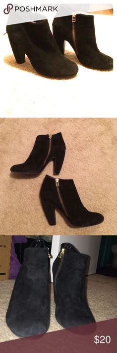 Booties Black ankle boots with gold zipper on the medial part. Amazingly soft suede, would best fit someone with a more slender foot. Steve Madden Shoes Heeled Boots