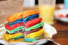 A colourful stack of rainbow pancakes. #food #breakfast #rainbow ♥ Rainbow White Color Design Art Food Pretty Beautiful Colorful Fashion ♥ oreos cookies