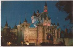 1957 Disneyland Postcard CA Sleeping Beauty's Castle Night Scene w La Postmark | eBay