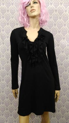 Velvet Graham and Spencer Dress Womens S Black Ruffled Stretch Long Sleeve Lined #VelvetbyGrahamSpencer #ALineDress #AnyOccasion