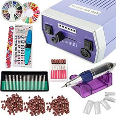 iMeshbean 30000 RPM Professional Improved Overheat  Vibration Electric Nail File Drill Bits Machine Manicure Kit with Accessories for Home and Salon USA Model 2Blue ** Check this awesome product by going to the link at the image. Note:It is Affiliate Link to Amazon.