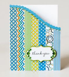 """front covered solid with bright washi tapes in turquoise and completmentary colors . luv curved """"ski slope"""" edge ourlined with baker's twine . Paper Cards, Diy Cards, Card Making Inspiration, Making Ideas, Tapas, Washi Tape Cards, Masking Tape, Washi Tapes, Scrapbook Cards"""