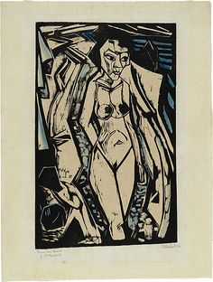 Erich HECKEL  Germany 1883 – 1970  Frau am Strand [Woman on the beach] 1914 Ernst Ludwig Kirchner, Woodcut Art, Expressions, Art For Art Sake, Wood Engraving, Woodblock Print, Strand, Art History, Printmaking