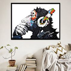 """""""Headphone Music Monkey Abstract Canvas Painting Posters Prints Quadros Wall Art Animal Picture For Living Room Decor Cuadros"""" Abstract Wall Art, Canvas Wall Art, Canvas Prints, Print Pictures, Animal Pictures, Cheap Paintings, Room Posters, Living Room Pictures, Picture Wall"""