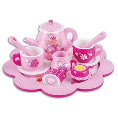 Fantastic kids tea set and serving tray with beautiful fairy and magical creature illustrations is a great way to encourage imaginative play from a young age. It's a 12 piece luxury wooden tea set including; cups, saucers, plates, a tea pot and two glittery cakes.