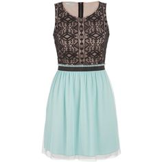 maurices Dress With Tulle And Ethnic Lace ($33) ❤ liked on Polyvore featuring dresses, frozen lake combo, maurices, green cocktail dress, lace tulle dress, high neckline dress and zip up dress