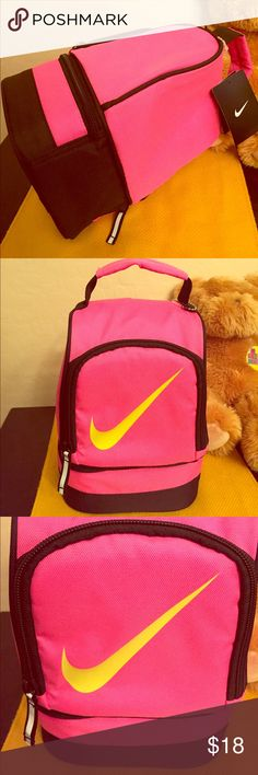 "ONLY 2! Nike Lunch Box Authentic Nike Lunch Box. Unisex. Color:  Pink with Large Volt (Yellow & Green Combo) Swoosh on the Front. Pink & Black Bottom Compartment. Black & Silver Accents. Both Compartments are Insulated. Top Pink & Black Handle. Shell: 100% Polyester. Lining: 100% Plastic Insulation (PEVA). 10.5"" High X 6.5"" Wide X 4.5"" Deep so it is Very Roomy. Brand New. Excellent Condition. No Trades. Nike Accessories Bags"
