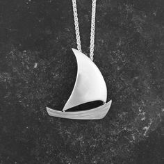 Boat Pendant. Hallmarked, Sterling Silver Boat Pendant on a silver chain. by DamianMilesJeweller on Etsy