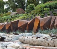 Modern landscape design - Landscape architect Paul Sangha has created METAMORPHOUS, a corten steel sculpture designed to provide a solution to foreshore erosion for a waterfront property in Vancouver, Canada Modern Landscape Design, Landscape Architecture Design, Modern Landscaping, Contemporary Landscape, Urban Landscape, Landscape Architects, Landscaping Ideas, Backyard Landscaping, Architecture Jobs