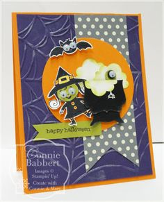 SU! Googly Ghouls stamp set; Howlstooth and Scaringbone DSP; colors are Tangerine Tango, Elegant Eggplant, Lucky Limeade, Basic Gray and Basic Black - Connie Babbert