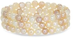 "Woven Freshwater Cultured 3-Row Multi-Color Pink Pearl Stretch Bracelet, 7.5"" *** Check out the image by visiting the link. (This is an affiliate link) #WomenBracelets"