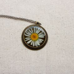 pressed flower necklace resin daisy jewelry