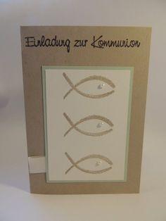 Einladung zur Kommunion mit Fisch   von Stempeldorf auf DaWanda.com
