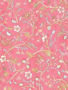 Guadelope (839-T-4943) - Thibaut Wallpapers - A sweet floral jungle trail on a rich coral pink background with cute monkeys cavorting in the branches.- vinyl coated. This is an American wallcovering and will take between 7-10 working days for delivery. Wide width. Request sample for true colour.