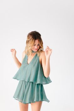 Layered green and gold romper: http://www.stylemepretty.com/living/2016/12/30/4-tips-for-the-cutest-ever-non-traditional-new-years-eve-party/  Photography: Heather Kincaid - http://heatherkincaid.com/