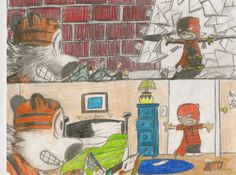 (Red Justice) Calvin & Hobbes colored pencil fan art my 12 yr old son Brendan