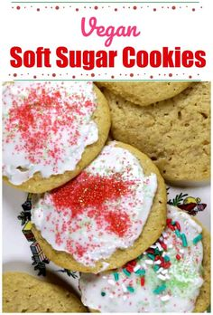 Best Soft Sour Cream Cookies with Buttercream Frosting - These are seriously the best kind of cookies for the holidays! So pillowy soft, and lightly sweetened, these bakery style Best Soft Sour Cream Cookiesiced with tantalizing Buttercream Frosting make these the bestest sugar cookies in the land!#cookies #christmascookies #dessert, holidays #baking #sugarcookies #sourcream Sour Cream Cookies, Vegan Sugar Cookies, Vegan Cupcakes, Soft Sugar Cookies, Yummy Cookies, Vegan Cake, Shortbread Cookies, Cookie Recipes, Dessert Recipes